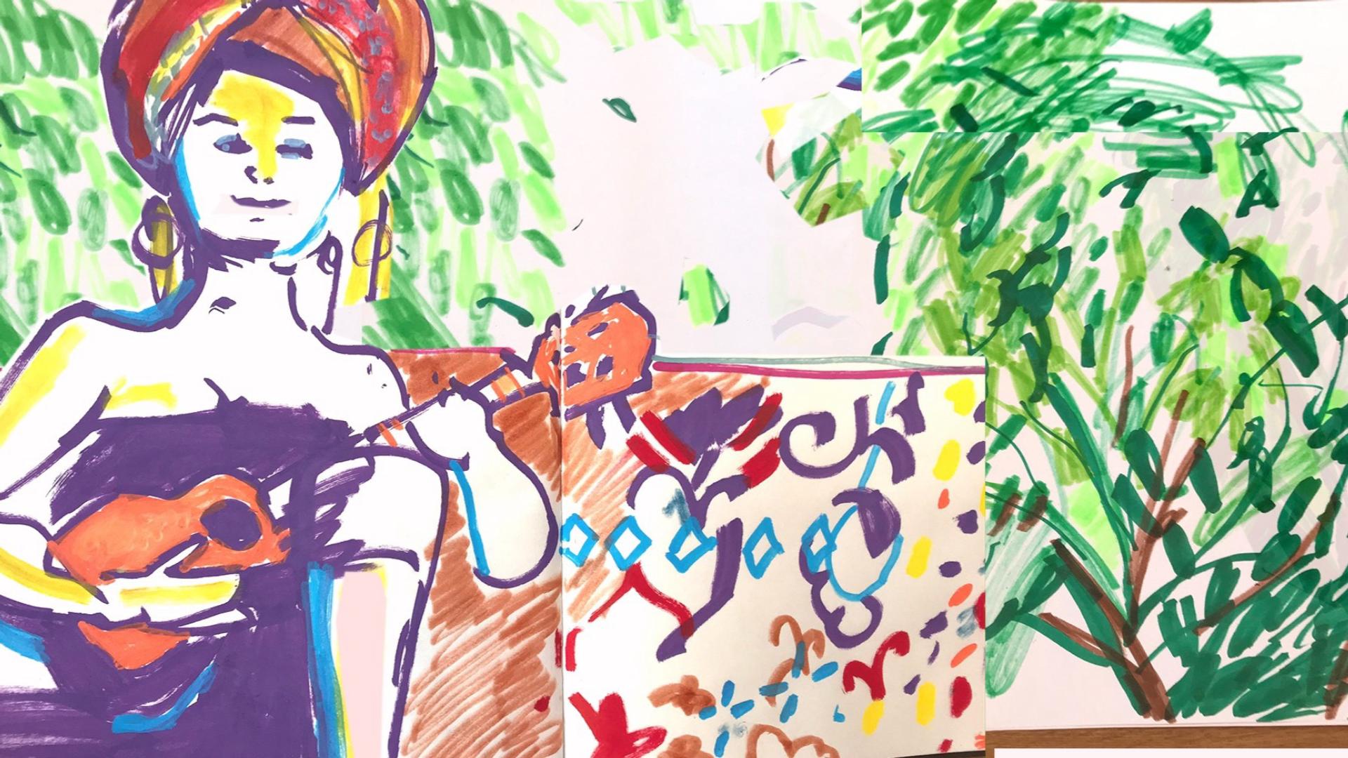 Zenélő modell utáni rajz workshop Dunarnia kertjében